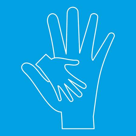 Mother holding baby hand icon, outline style Illustration