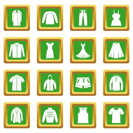 tunic: Different clothes icons set green