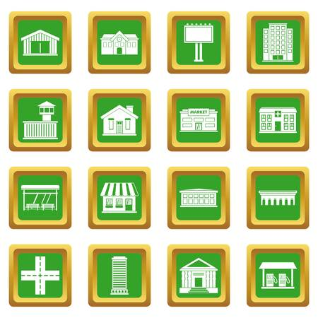 City infrastructure items icons set green