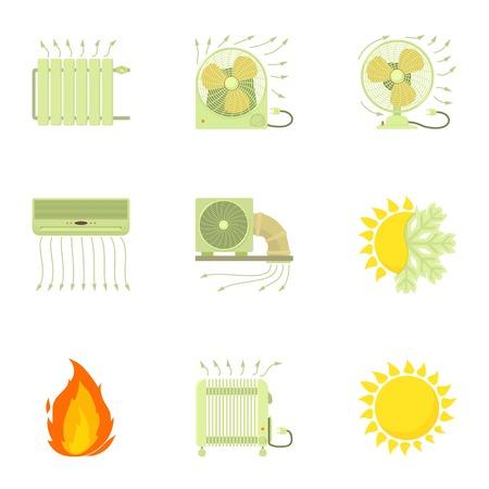 Heating icons set, cartoon style Иллюстрация