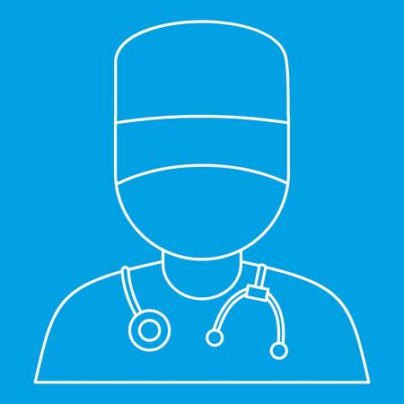 Doctor icon blue outline style Ilustrace