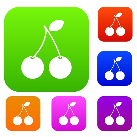 glace: Two ripe cherry berries set icon in different colors isolated illustration.