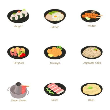 Japanese food icons set.