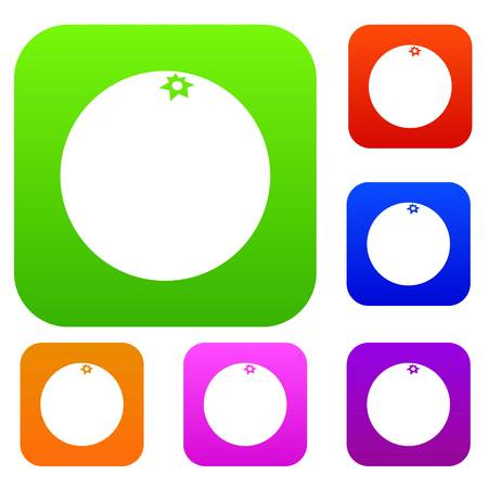 Mandarin set icon in different colors isolated  illustration. Premium collection Illustration