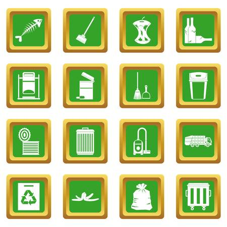 refuse: Garbage thing icons set in green color isolated vector illustration for web and any design Illustration