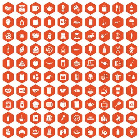 100 die keukenpictogrammen in oranje zeshoek geïsoleerde vectorillustratie worden geplaatst