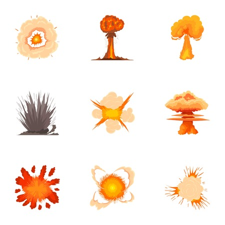 Explosion icons set. Cartoon set of 9 explosion vector icons for web isolated on white background Illustration