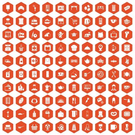 100 kitchen utensils icons set in orange hexagon isolated vector illustration