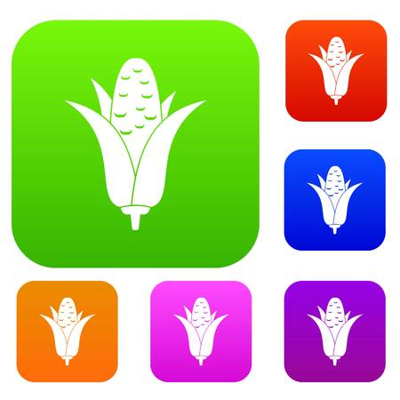 Corncob set icon in different colors isolated vector illustration. Premium collection Illustration