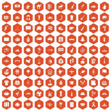100 landmarks icons set in orange hexagon isolated vector illustration Illustration