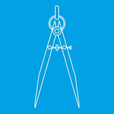 Compass tool icon blue outline style isolated vector illustration. Thin line sign