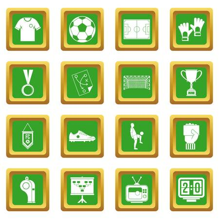 Soccer football icons set in green color isolated vector illustration for web and any design