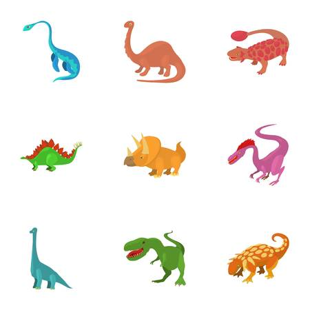 Cartoon set of 9 dinosaur vector icons for web isolated on white background