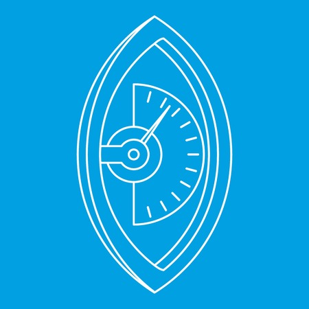 Hand dynamometer icon in blue outline style isolated vector illustration. Illustration