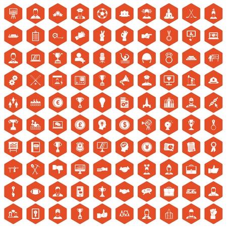 100 leadership icons set in orange hexagon isolated vector illustration Illustration