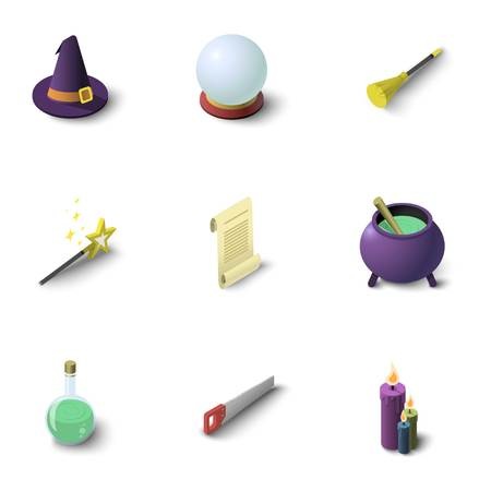 3d ball: Magic icons set. Isometric set of 9 magic vector icons for web isolated on white background Illustration