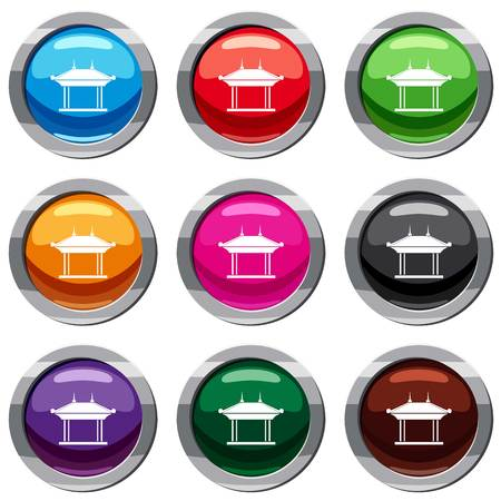 Pagoda set icon isolated on white. 9 icon collection vector illustration Illustration