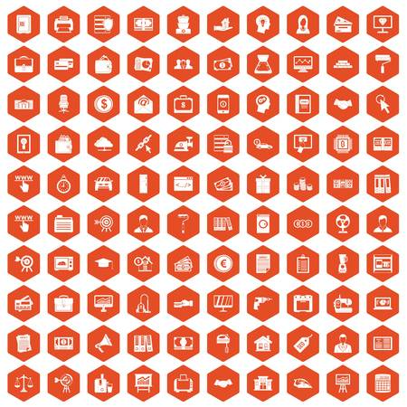 100 lending icons set in orange hexagon isolated vector illustration