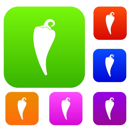 Hot chili pepper set icon in different colors isolated vector illustration. Premium collection Illustration
