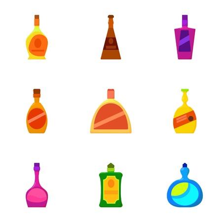 Luxury alcohol bottle icons set. Cartoon set of 9 luxury alcohol bottle vector icons for web isolated on white background