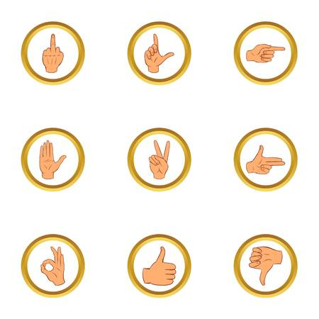 Human gesture icons set. Cartoon set of 9 human gesture vector icons for web isolated on white background
