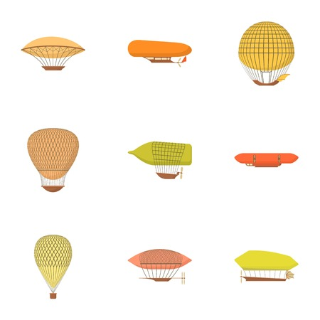 Different airships icons set. Cartoon set of 9 different airships vector icons for web isolated on white background