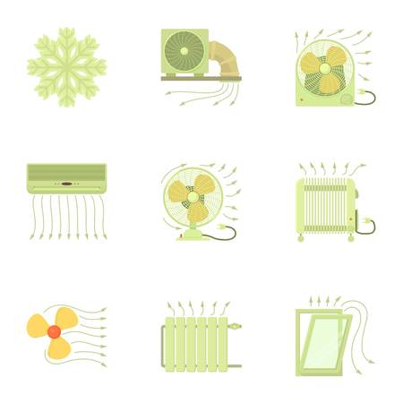 Heating equipment icons set. Cartoon set of 9 heating equipment vector icons for web isolated on white background