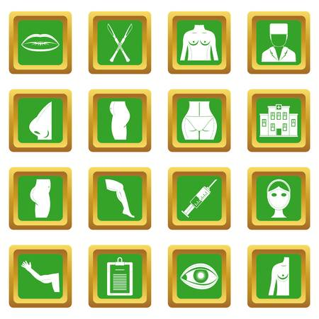Plastic surgeon icons set in green color isolated vector illustration for web and any design Illustration