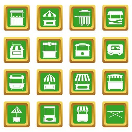 De vrachtwagenpictogrammen van het straatvoedsel geplaatst in groene kleur geïsoleerde vectorillustratie voor Web en om het even welk ontwerp