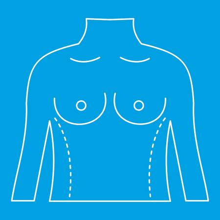 Torso marked with lines for cosmetic correction icon blue outline style isolated vector illustration. Thin line sign Illustration