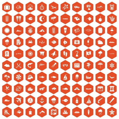 100 marine environment icons set in orange hexagon isolated vector illustration Illustration