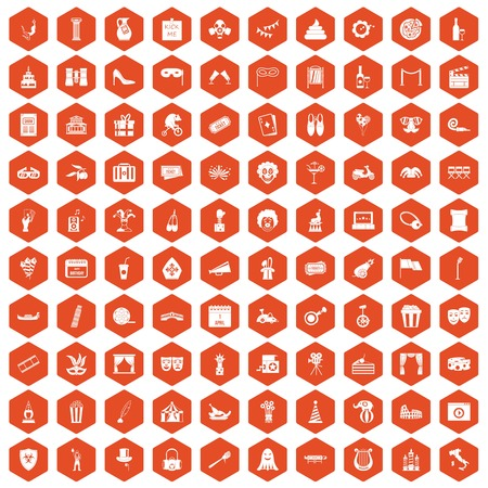 poppers: 100 mask icons set in orange hexagon isolated vector illustration