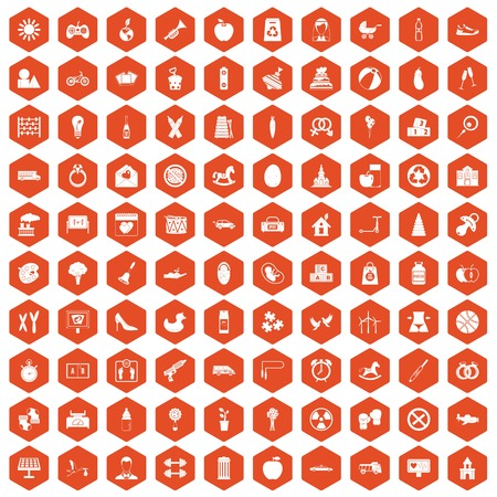 100 maternity leave icons set in orange hexagon isolated vector illustration