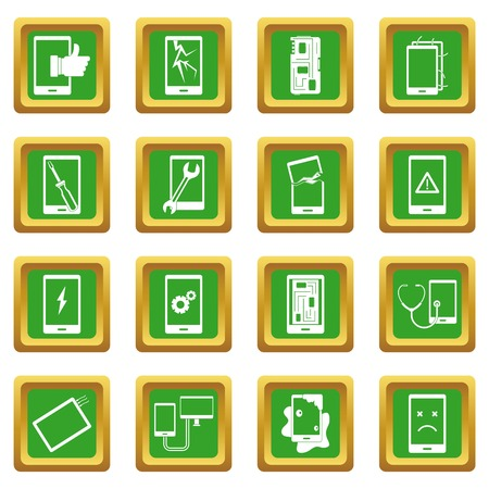 setup: Device repair symbols icons set in green color isolated vector illustration for web and any design