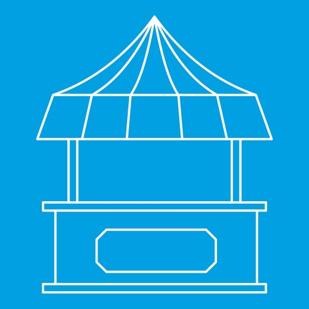 carretto gelati: Street shopping counter with tent icon blue outline style isolated vector illustration. Thin line sign Vettoriali
