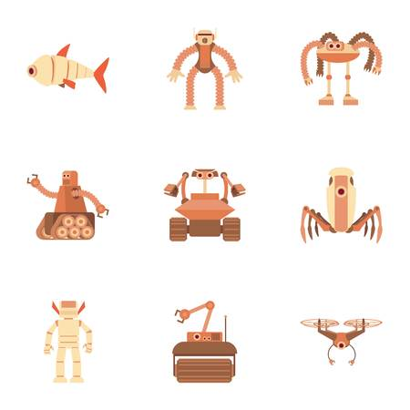 Different robot icons set. Cartoon set of 9 different robot vector icons for web isolated on white background