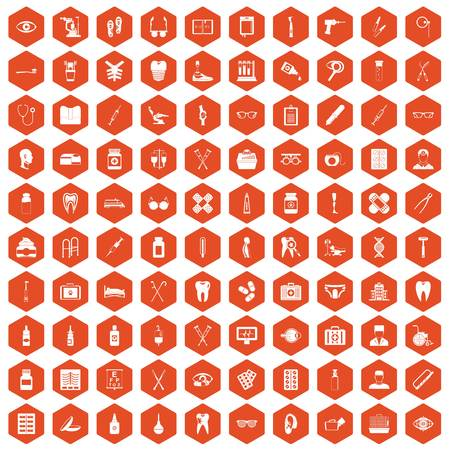 eyepiece: 100 medical accessories icons set in orange hexagon isolated vector illustration
