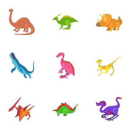 deinonychus: Different dinosaur icons set. Cartoon set of 9 different dinosaur vector icons for web isolated on white background