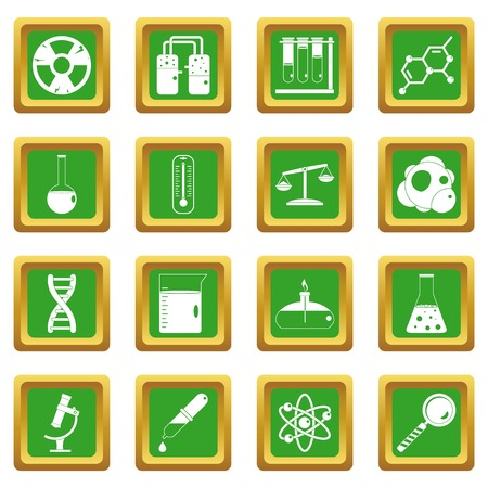 drug discovery: Chemical laboratory icons set in green color isolated vector illustration for web and any design
