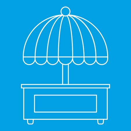 Mobile cart with umbrella icon blue outline style isolated vector illustration. Thin line sign