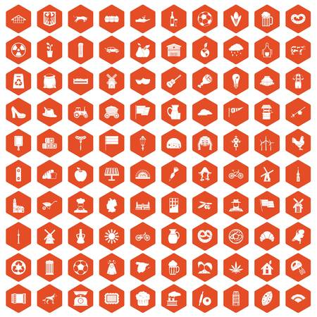 100 mill icons set in orange hexagon isolated vector illustration