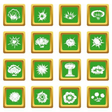 Explosiepictogrammen in groene kleur geïsoleerde vectorillustratie voor Web en om het even welk ontwerp worden geplaatst dat