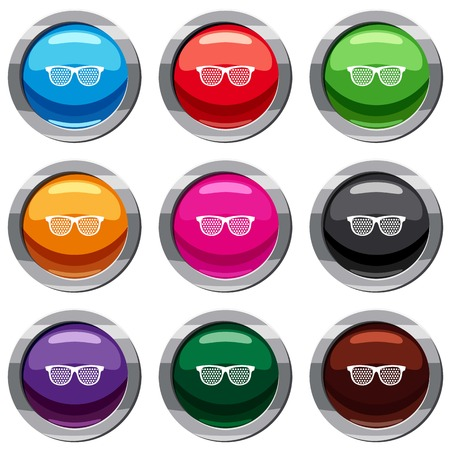 Black pinhole glasses set icon isolated on white. 9 icon collection vector illustration