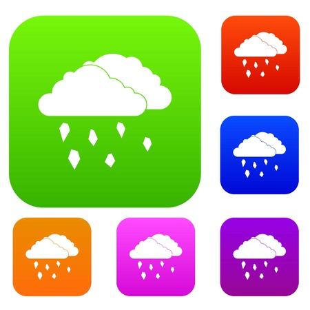 rainy season: Clouds and hail set icon in different colors isolated vector illustration. Premium collection Illustration