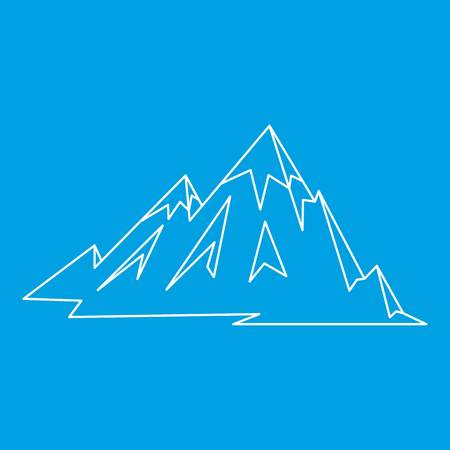 Mountains icon blue outline style isolated vector illustration. Thin line sign