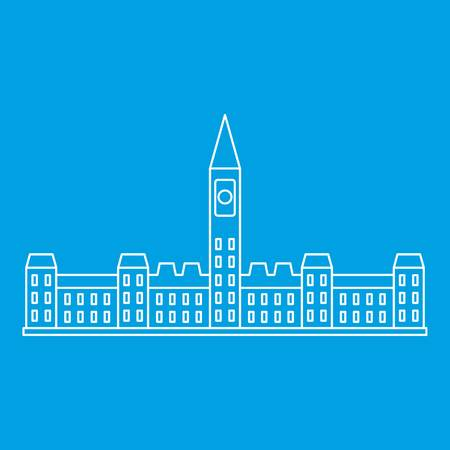 Parliament building in Ottawa icon blue outline style isolated vector illustration. Thin line sign Illustration