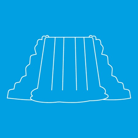 Waterfall icon blue outline style isolated vector illustration. Thin line sign