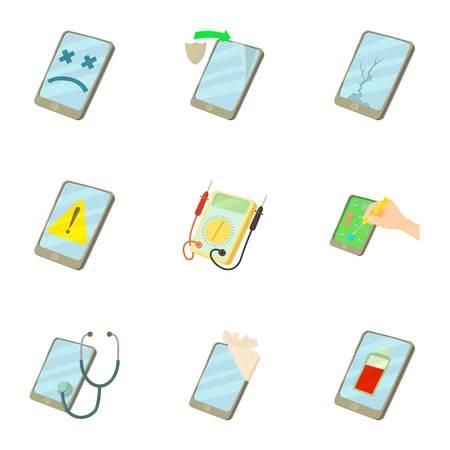 携帯電話修理サービスのアイコンを設定します。漫画の web は、白い背景で隔離のための 9 の携帯電話修理サービス ベクトルのアイコン セット