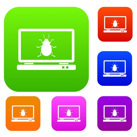 security monitor: Laptop set icon in different colors isolated vector illustration. Premium collection