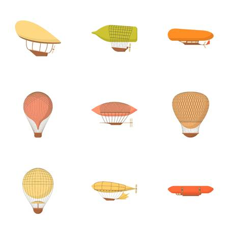 blimp: Air vehicle icons set. Cartoon set of 9 air vehicle vector icons for web isolated on white background Illustration